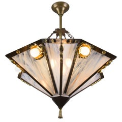 French Art Deco Nine-Light Chandelier with Brass Frame and White Art Glass