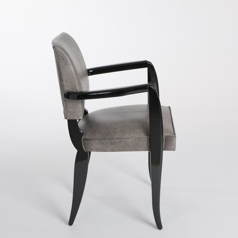 Hand-Crafted French Art Deco Office Chair / Armchair Black - White Raydesign Colored Leather For Sale
