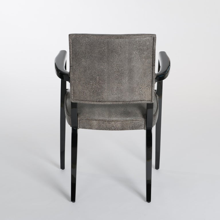 French Art Deco Office Chair / Armchair Black - White Raydesign Colored Leather In Excellent Condition For Sale In Salzburg, AT