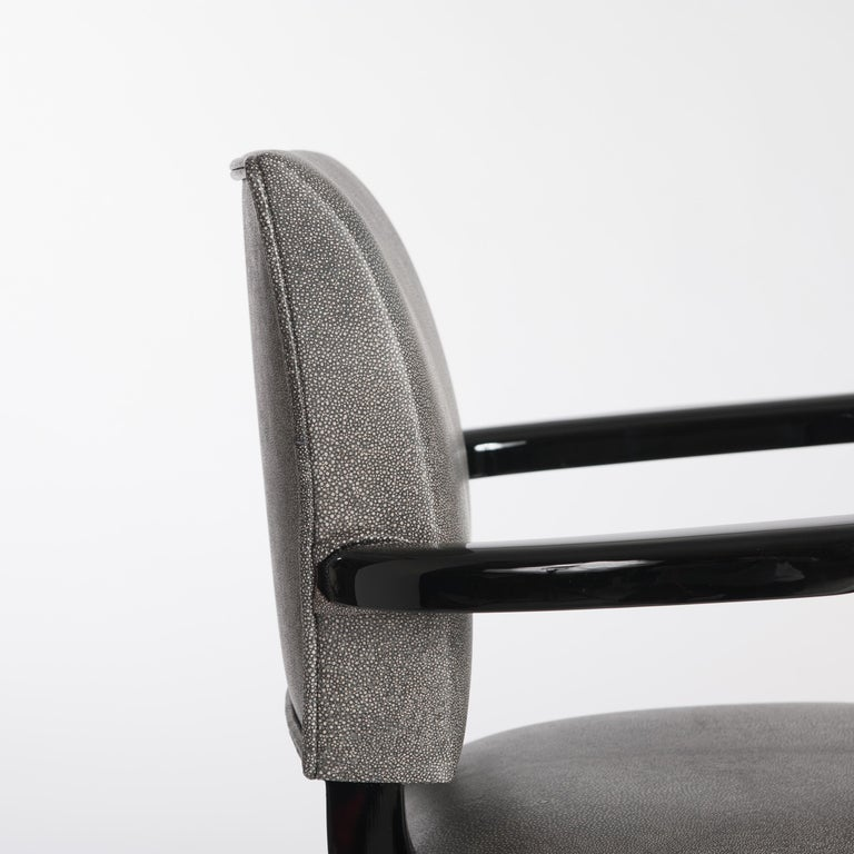 Mid-20th Century French Art Deco Office Chair / Armchair Black - White Raydesign Colored Leather For Sale