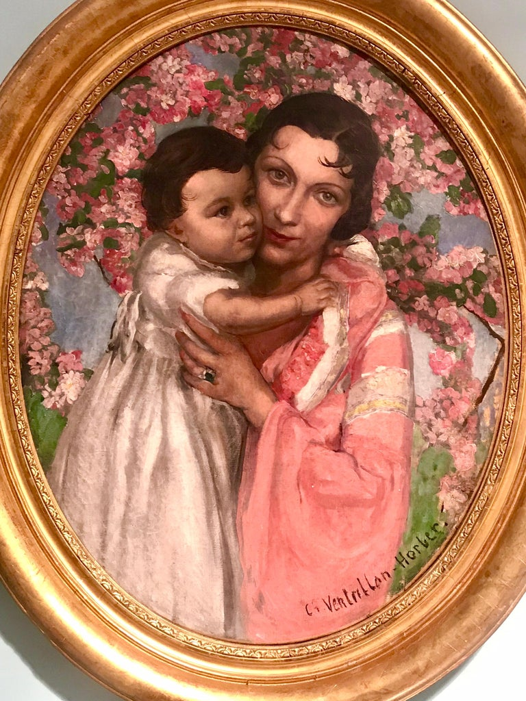 French Art Deco Oil on Canvas Painting, Signed In Good Condition For Sale In Miami, FL
