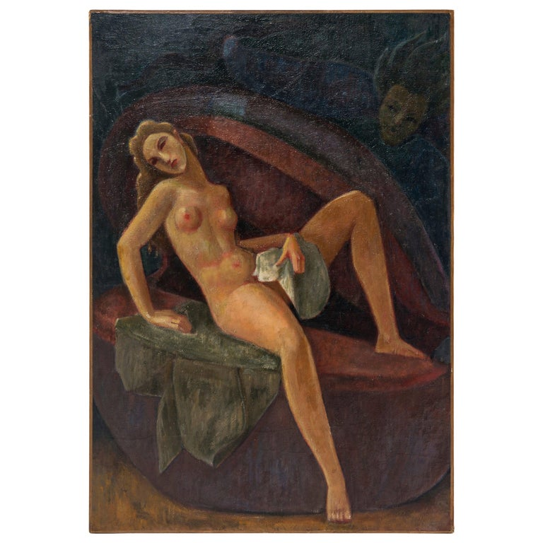 French Art Deco Oil Painting on Canvas by Gustave Florot, circa 1930 For Sale