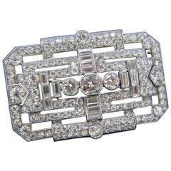 French Art Deco Old Mine Cut Diamond White Gold Platinum Brooch