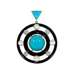 French Art Deco Onyx, Turquoise, Diamond, and Pearl Pendant