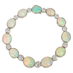 French Art Deco Opal, Diamond, and Platinum Line Bracelet