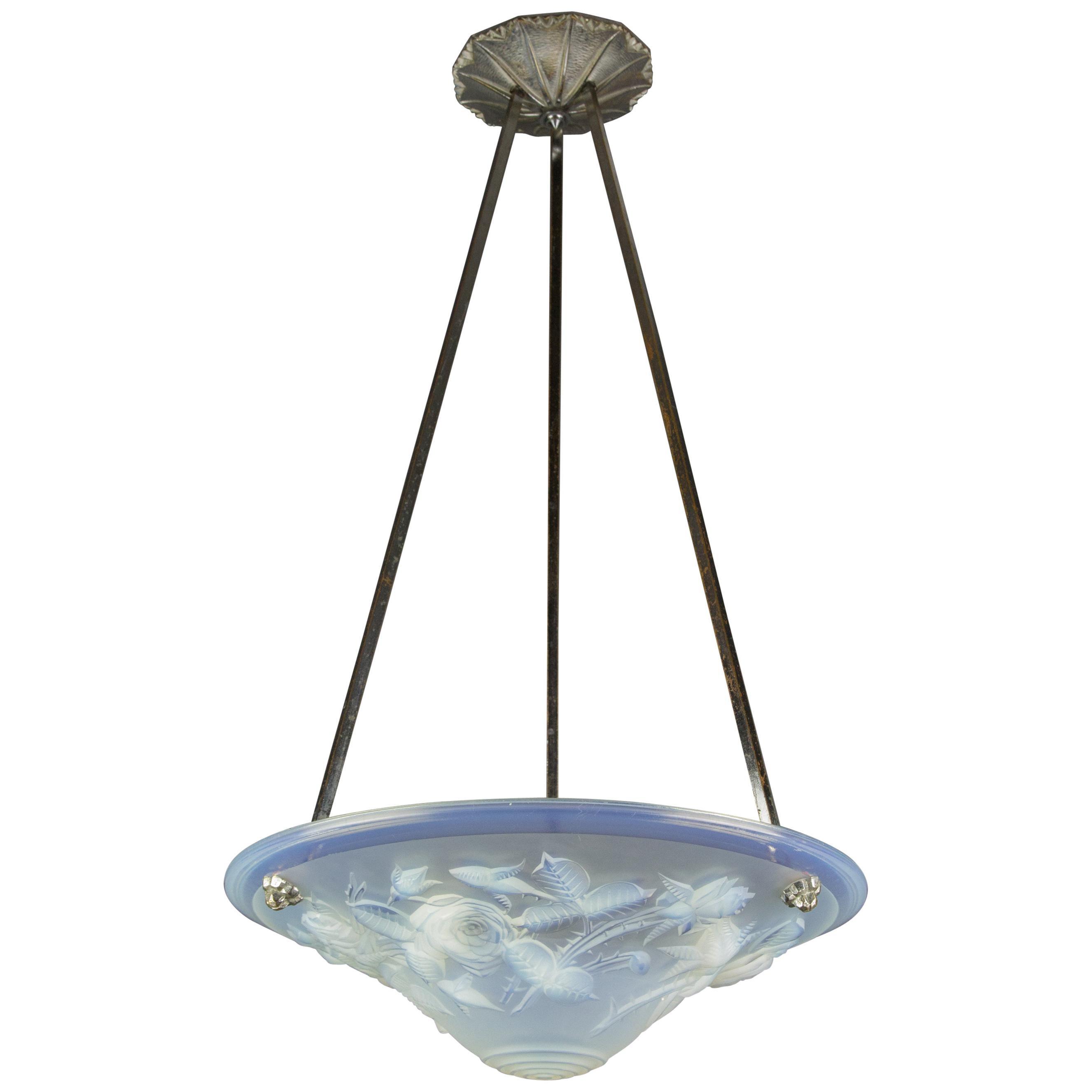 French Art Deco Opalescent Glass Chandelier Pendant by Pierre Maynadier, 1920s
