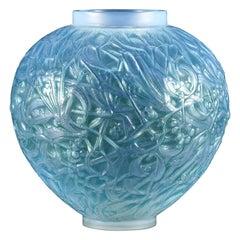 """French Art Deco Opalescent Glass Vase """"Blue Gui"""" by René Lalique"""