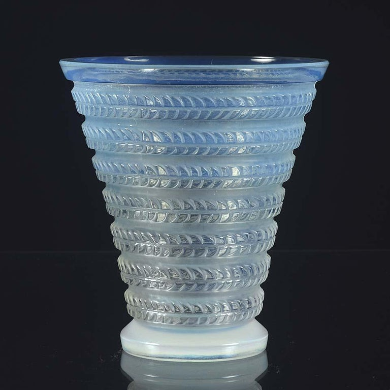 Molded French Art Deco Opalescent Glass Vase