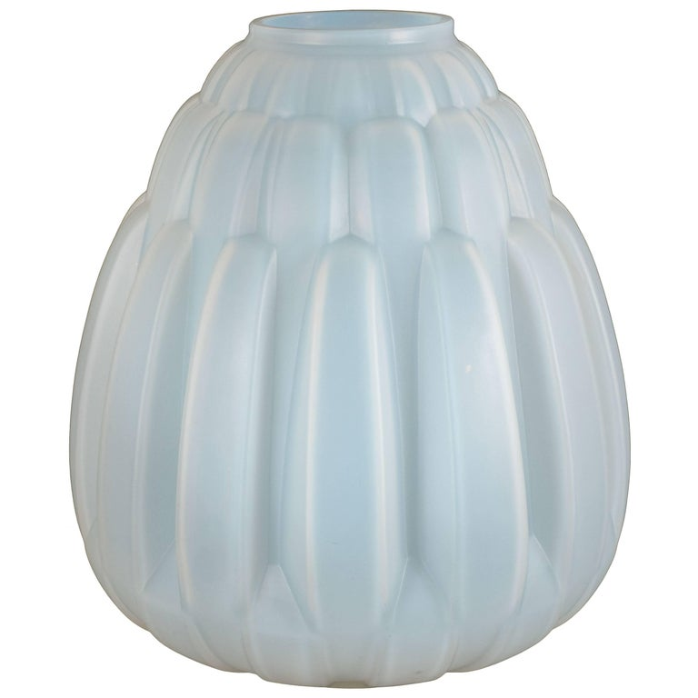 French Art Deco Opalescent Glass Vase with Streamlined Bands by Andre Hunebelle