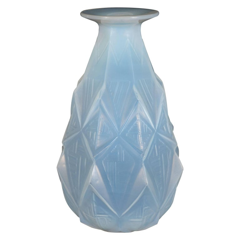 French Art Deco Opalescent Vase with Geometric Patterns in Relief Signed Sabino