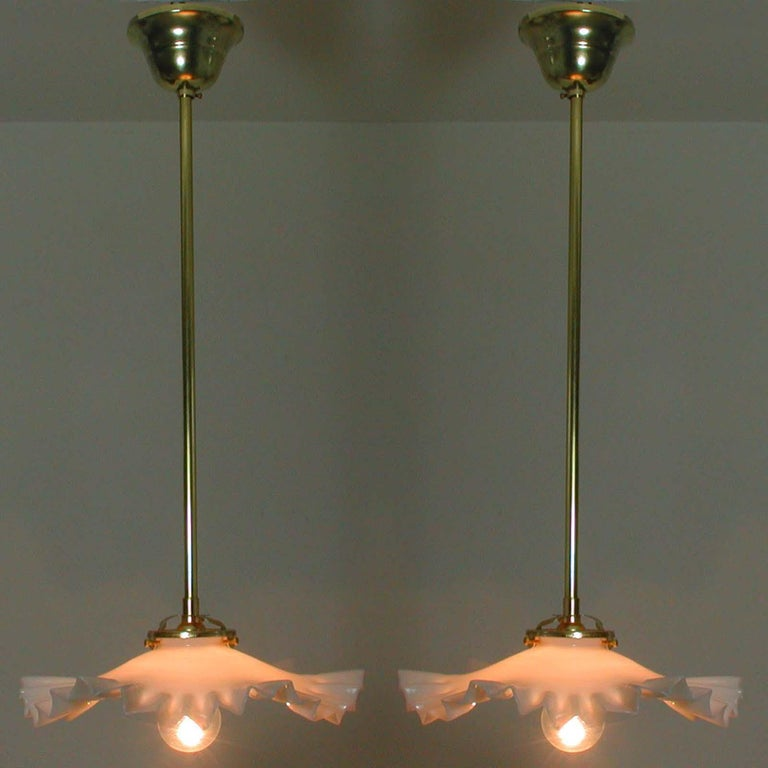 French Art Deco Opaline Glass and Brass Pendants, 1930s-1940s, Set of 2 For Sale 10