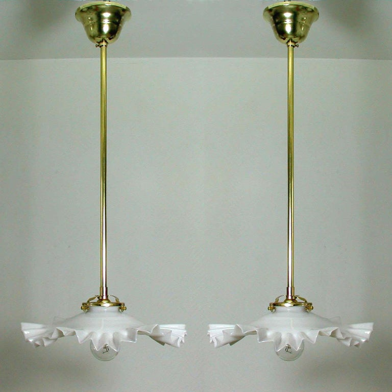 French Art Deco Opaline Glass and Brass Pendants, 1930s-1940s, Set of 2 In Good Condition For Sale In Nümbrecht, NRW
