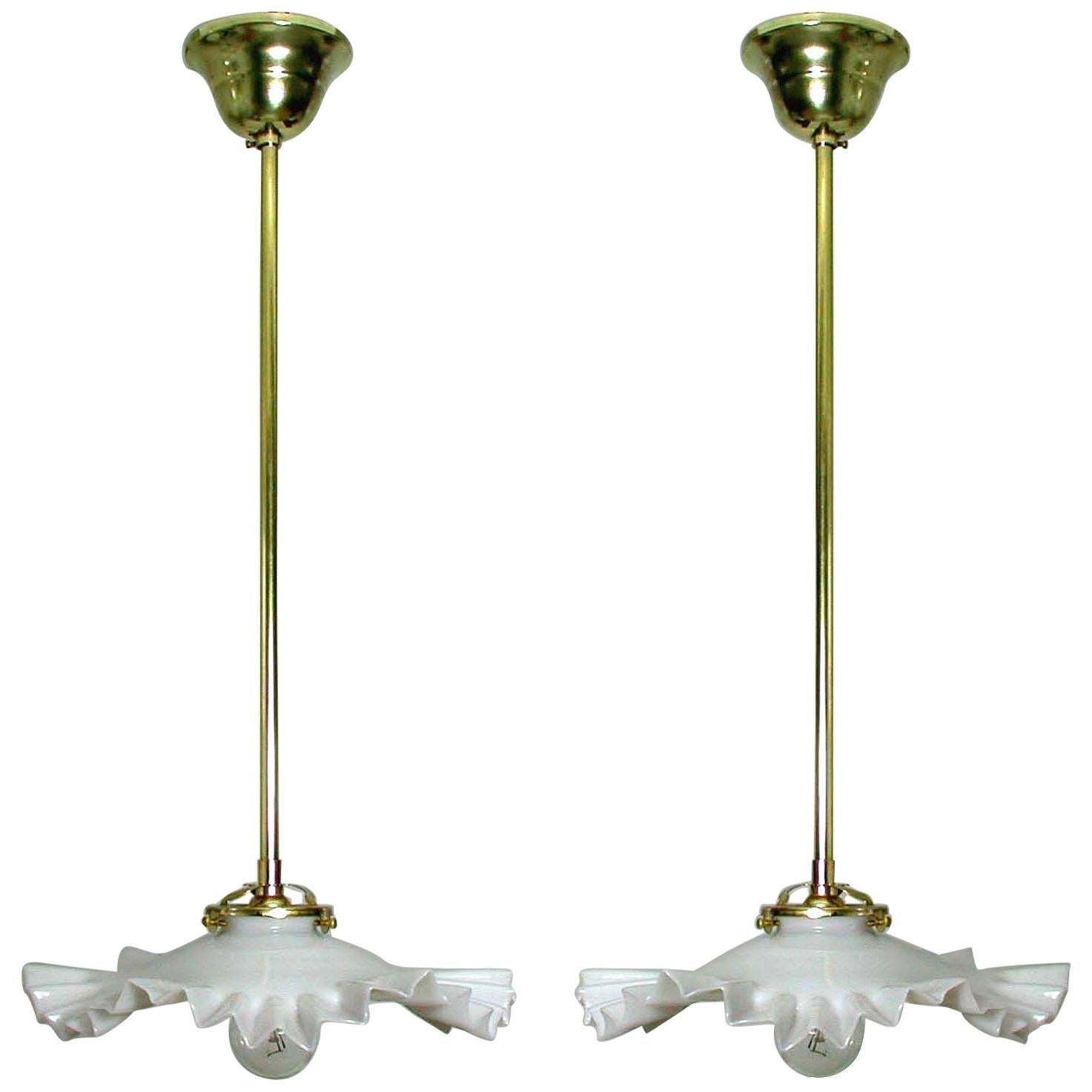 French Art Deco Opaline Glass and Brass Pendants, 1930s-1940s, Set of 2