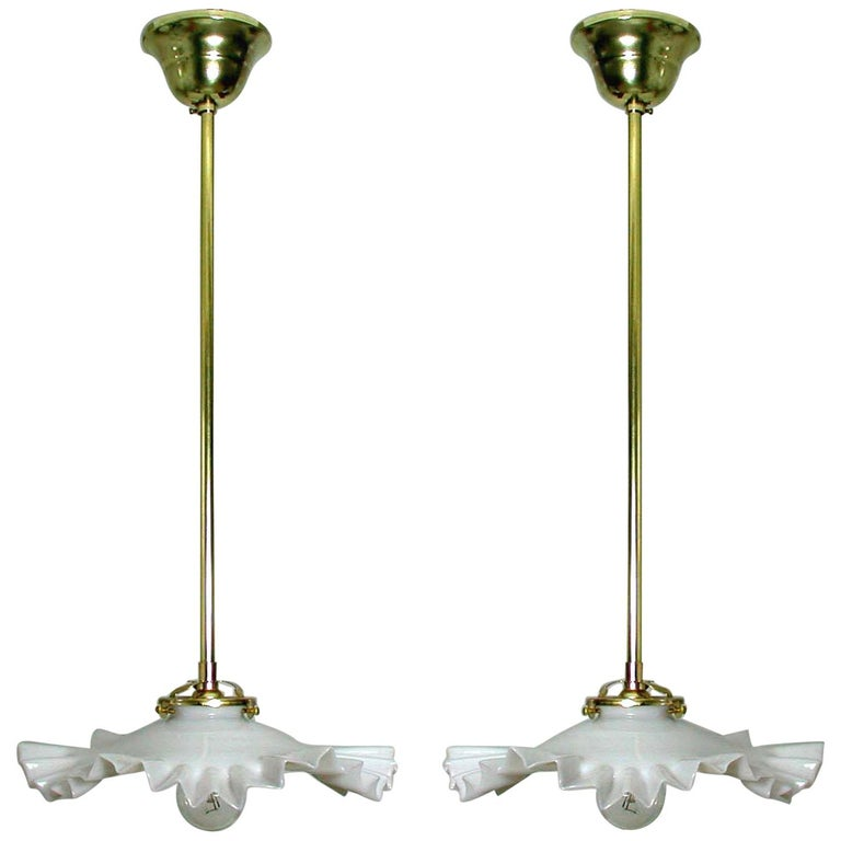 French Art Deco Opaline Glass and Brass Pendants, 1930s-1940s, Set of 2 For Sale