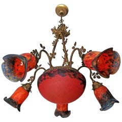 French Art Deco or Art Nouveau Gilt Bronze Chandelier or Pendant in Orange & Red