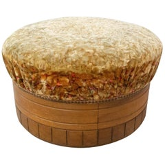 French Art Deco Ottoman Pouffe to Be Recovered Wood and Upholstery, Century