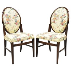 French Art Deco Oval Upholstered Back Mahogany Frame Blue Dining Chairs, a Pair