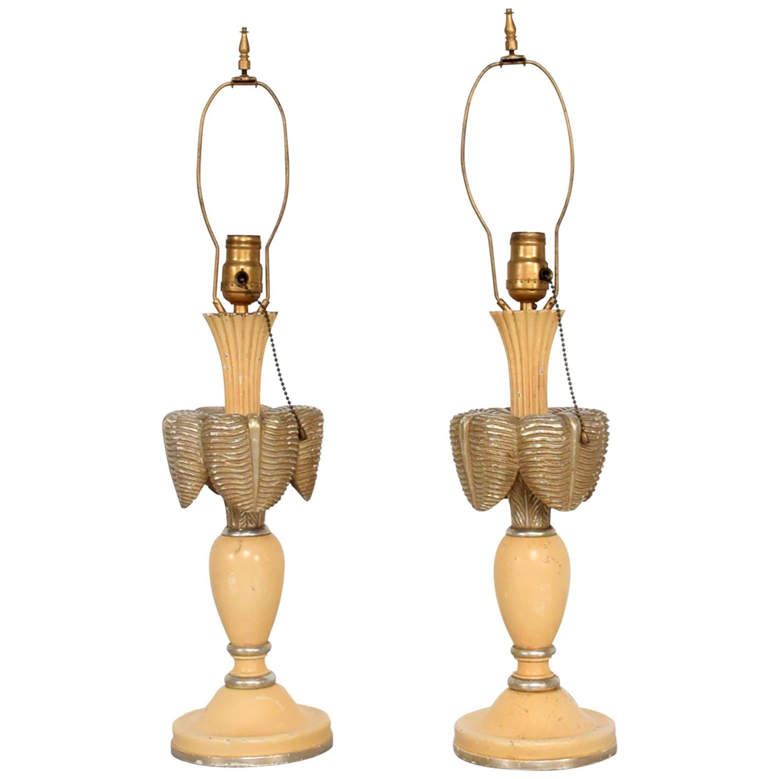French Art Deco Painted Mahogany Dainty Table Lamps 1940s - a pair
