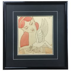 French Art Deco Painting Exotic Woman Holding a Dove Signed Chasquest Dated 1930