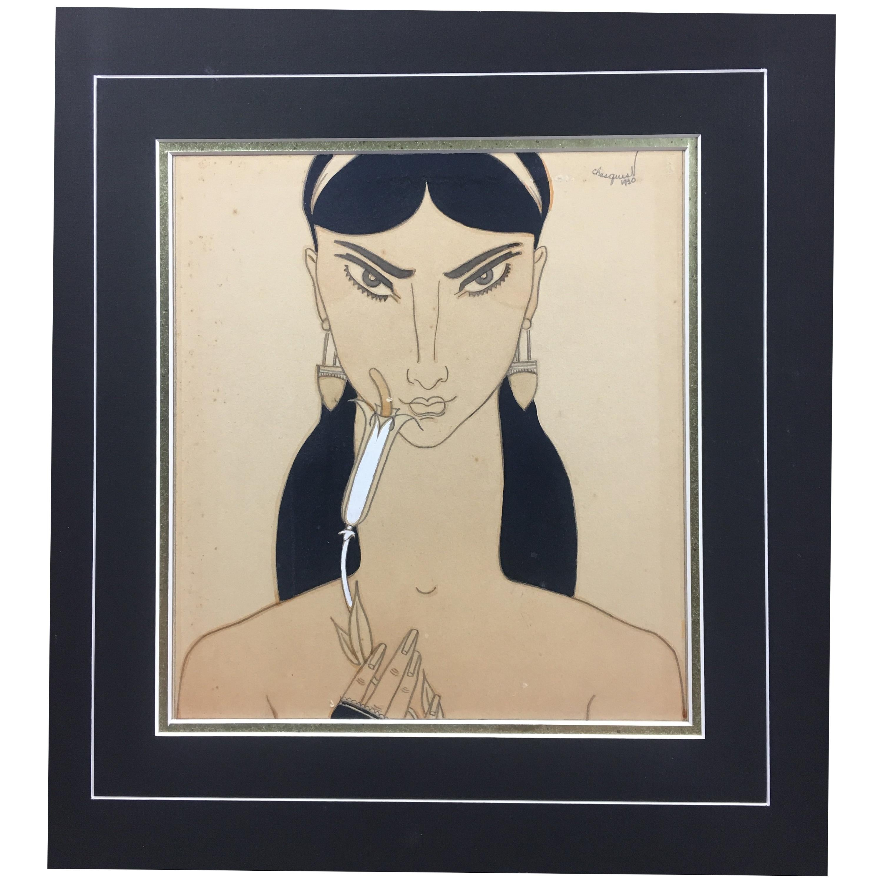 French Art Deco Painting Woman Holding a Flower, Signed Chasquest Dated 1930