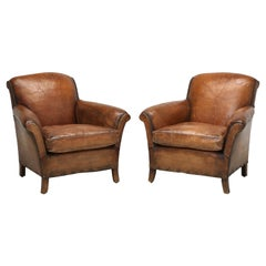 French Art Deco Pair Leather Club Chairs Restored Internally to a High Standard