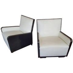 French Art Deco Pair of Chairs