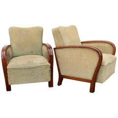 French Art Deco Pair of Club Chairs