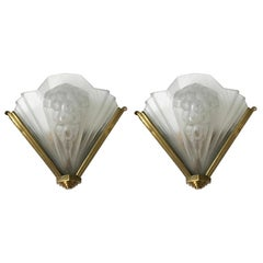 French Art Deco Pair of Signed Atelier Petitot Ribbed Sconces