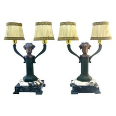 French Art Deco Pair of Table Lamps, 1920