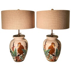 French Art Deco Pair of Table Lamps  Faience Orchies Moulin