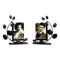 French Art Deco Pair of Wrought-Iron Photo Frames, 1930