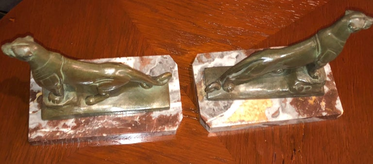 French Art Deco Panther Leopard Panther Bookends by Maurice Frecourt, Statue For Sale 5