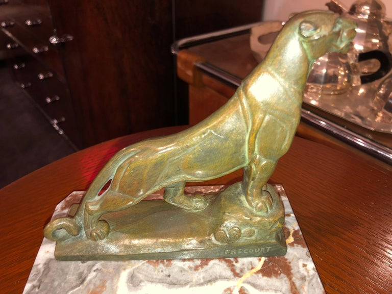 French Art Deco Panther Leopard Panther Bookends by Maurice Frecourt, Statue For Sale 3