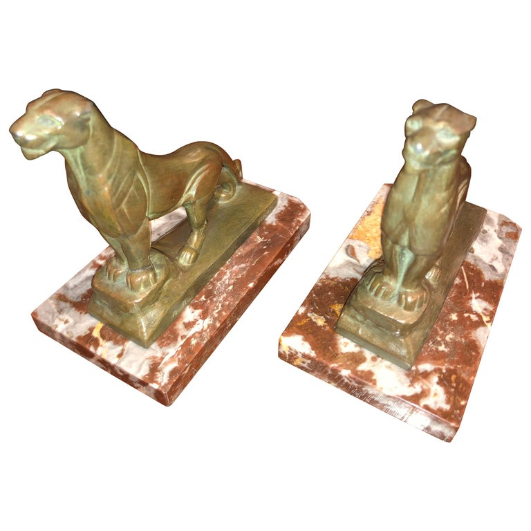 French Art Deco Panther Leopard Panther Bookends by Maurice Frecourt, Statue For Sale
