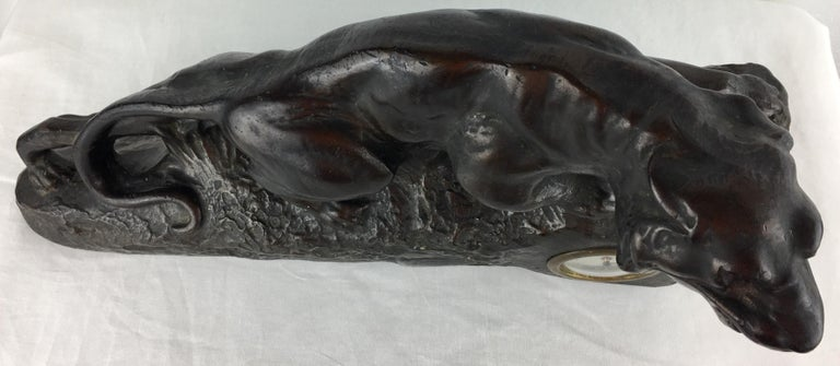 French Art Deco Panther Sculpture and Clock, circa 1930 For Sale 4