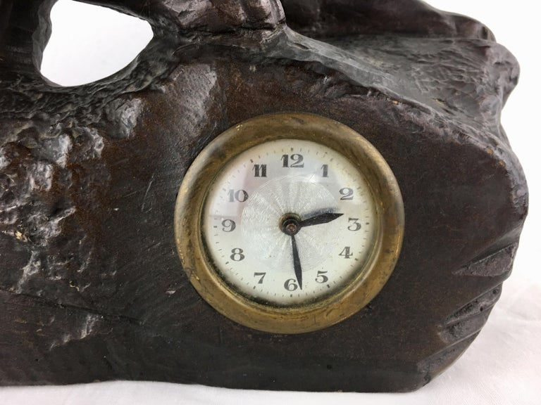 French Art Deco Panther Sculpture and Clock, circa 1930 For Sale 1