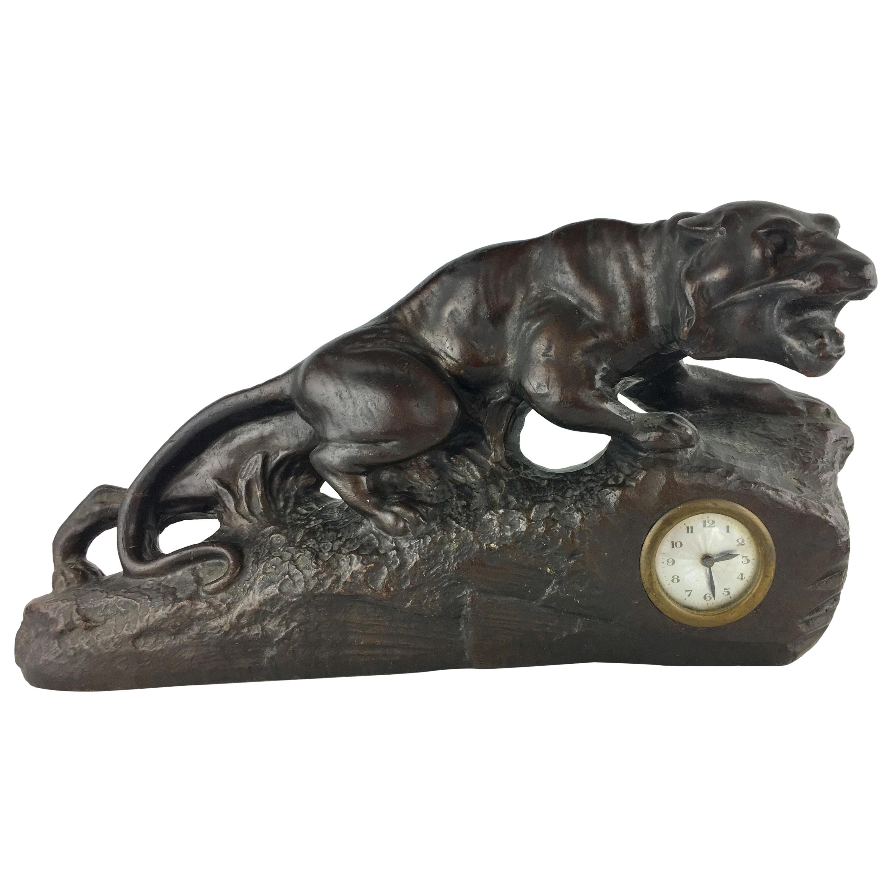 French Art Deco Panther Sculpture and Clock, circa 1930