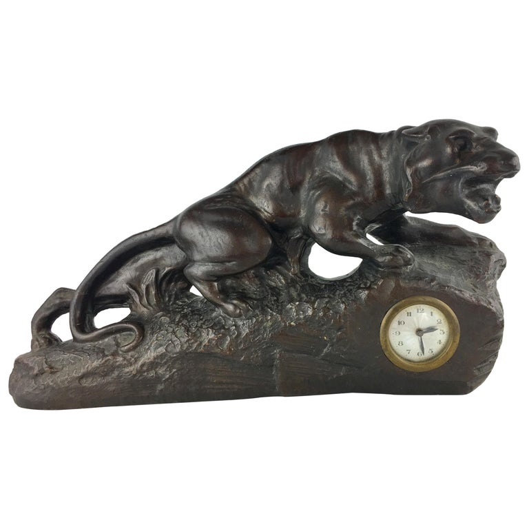 French Art Deco Panther Sculpture and Clock, circa 1930 For Sale