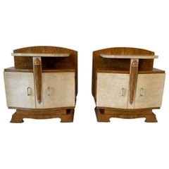 French Art Deco Parchment And Ash Tree Nightstands, 1930s