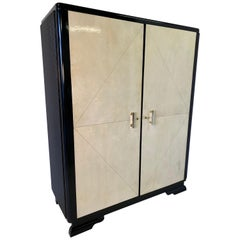 French Art Deco Parchment and Brass Wardrobe, 1930s
