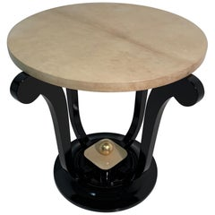 French Art Deco Parchment and Gold Leaf Side Table