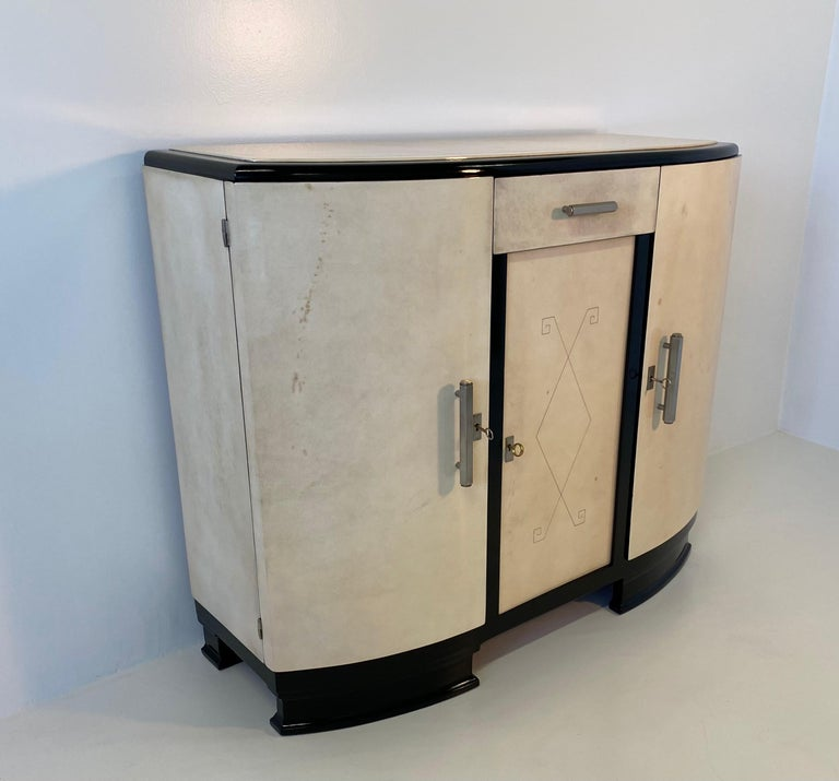 Mid-20th Century French Art Deco Parchment Sideboard, 1930s For Sale