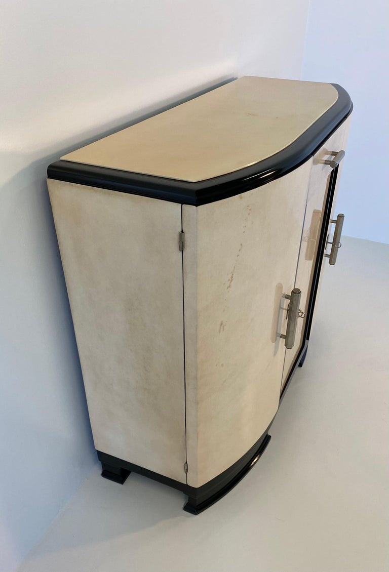Metal French Art Deco Parchment Sideboard, 1930s For Sale