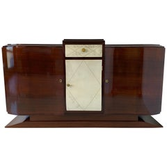 French Art Deco Parchment Sideboard, 1930s