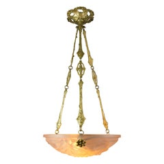 French Art Deco Pastel Pink Frosted Glass Pendant Chandelier Signed Degué, 1920s