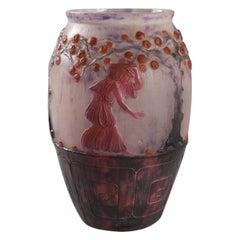 French Art Deco Pâte-de-Verre Glass Vase by Gabriel Argy-Rousseau