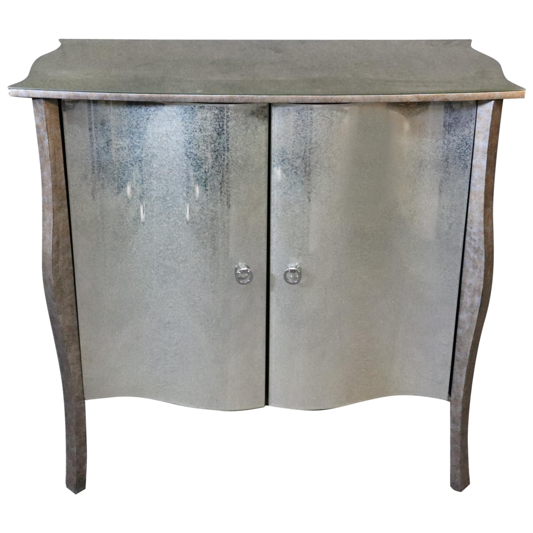 French Art Deco Patinated Mirror and Silver Leaf Glass Commode Two-Door Chest
