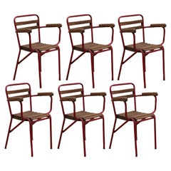 French Art Deco Patio Set of Six Stacking Arm Chairs