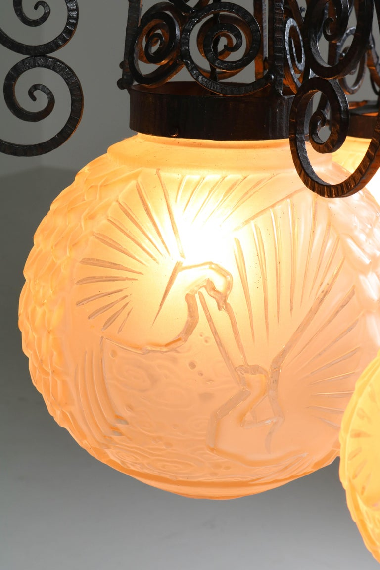 Lacquered French Art Deco Peacock Glass Chandelier by Muller Frères Luneville, 1930s For Sale