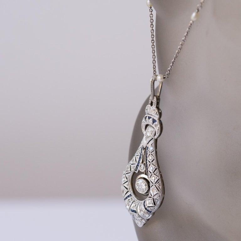 Women's French Art Deco Pearl Sapphire Diamond Platinum Pendant For Sale